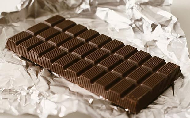BCYTNM Food - bar of dark chocolate on foil